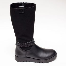 772c63fe75 Μαύρες κοριτσίστικες μπότες με λουράκια
